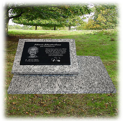 Granit Grabplatte Grabmal Gedenkstein 60x40 cm Foto+Text Gravur Grabstein gg44s