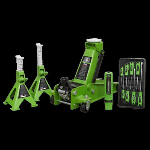 Trolley-Jack-3tonne-Super-Rocket-Lift-Axle-Stands-3tonne-Screwdrivers-LED-Light