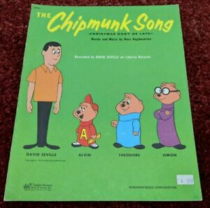 The Chipmunk Song Sheet Music Alvin and the Chipmunks with David Seville 1958 | eBay