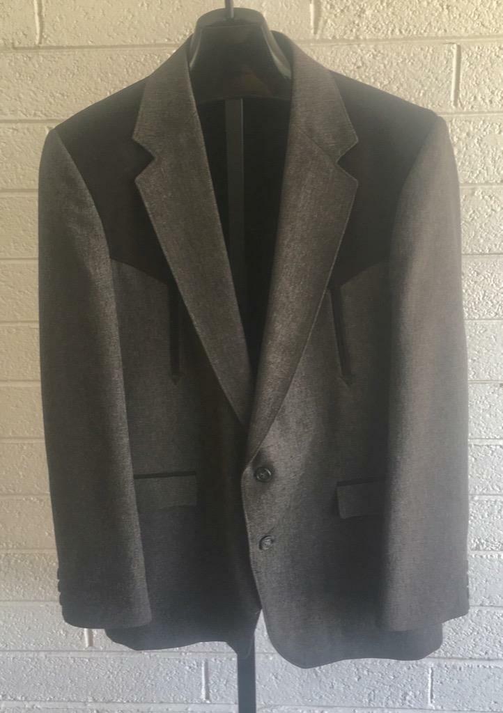 Vintage Circle S 2pc Western Suit sz 42R Gray Roc… - image 1