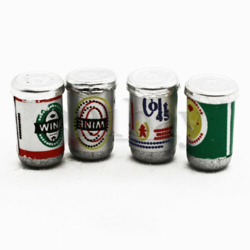 4 pc Miniature Beer Can Miniature Beverages Mini Tin Cans Grocery Miniatire 1:12