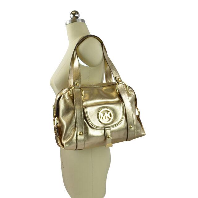 ab366395edad NWT Michael Kors Fulton Logo Leather Large Satchel Handbag Pale Gold