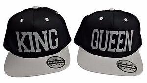 f528f0060d1 KING   QUEEN Snapback - Snap Back Retro Novelty Hat Cap Black Grey ...
