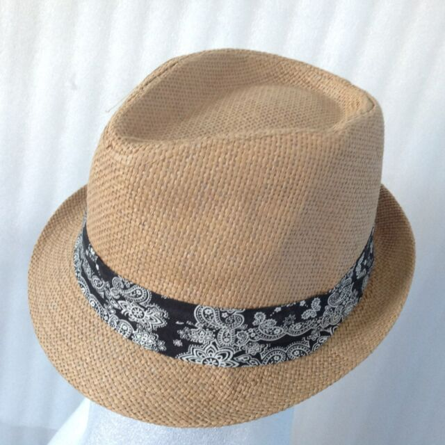 Women Beach Hat Taupe Paisley Sun Jazz Panama Gangster Cap Trilby Fedora Summer