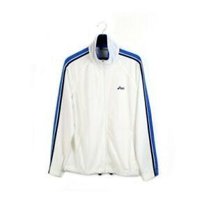 90s ASICS TIGER vintage track jacket tracksuit top nylon white 2000s retro L XL