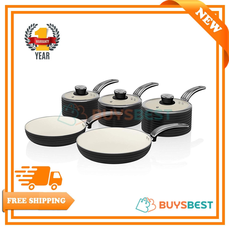 Swan Rétro revêtement céramique antiadhésif de 5 casseroles en Noir-SWPS 5020BN