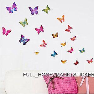 Adroit 21 Papillons Très Colorés Mur Art Stickers Autocollant Mural Décoration Chambre Filles-afficher Le Titre D'origine