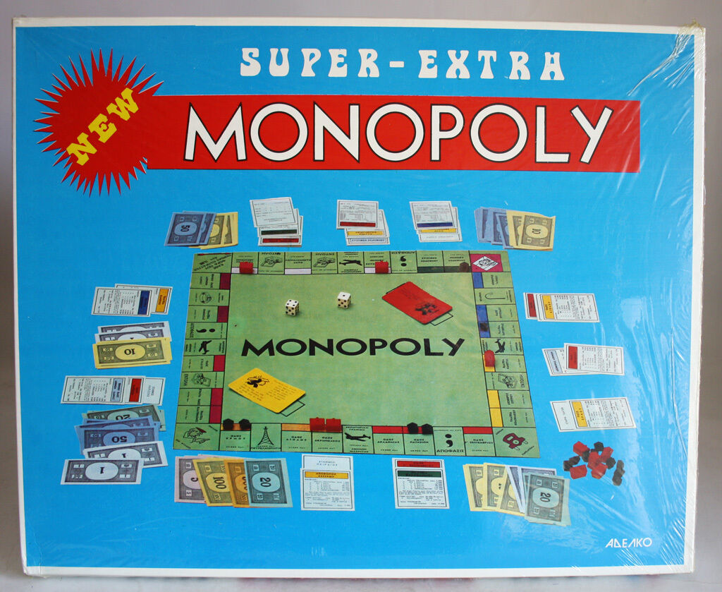 VERY RARE VINTAGE 70'S SUPER EXTRA MONOPOLY BOARD GAME ADELKO GREECE NEW SEALED