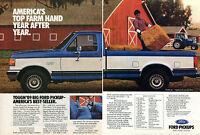 1988 2 Page Print Ad of 1989 Ford F150 Lariat Farm Pickup Truck