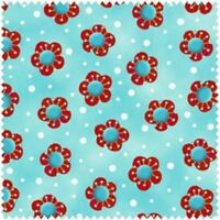 Cool Cats By Debi Hron For Henry Glass -- Aqua Red Floral