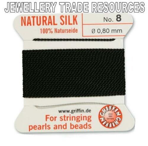 BLACK SILK STRING THREAD 0.80mm FOR STRINGING PEARLS /& BEADS GRIFFIN SIZE 8