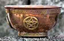 Pentacle (Pentagram) Copper Bowl- Offering Bowl, Incense-Smudge-Resin Burner