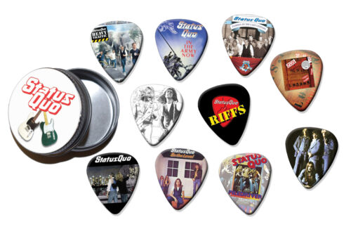 Status Quo 10 X Guitar Picks In Tin Classic Rec BT