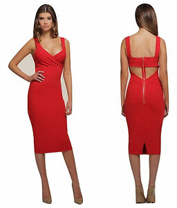 06a4d9164645 Honor Gold Red Midi Dress Bodycon Pencil Cutout Back Design ladies ...