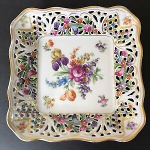 VTG-Reticulated-Square-Bowl-Candy-Dish-Schumann-Dresden-Germany-EUC-Gilding