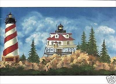 Lighthouse and Beach Items on Aqua Blue on Sure Strip Wallpaper Border BG1660BD