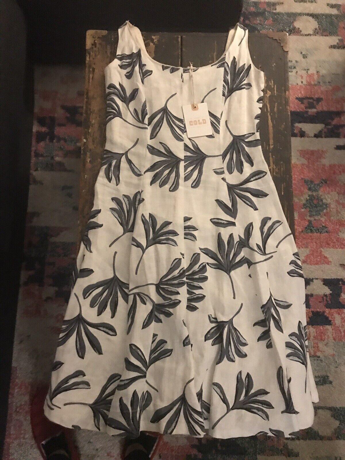Stone Cold Fox Small Linen Weiß grau Printed Sleeveless A Line Mini Dress