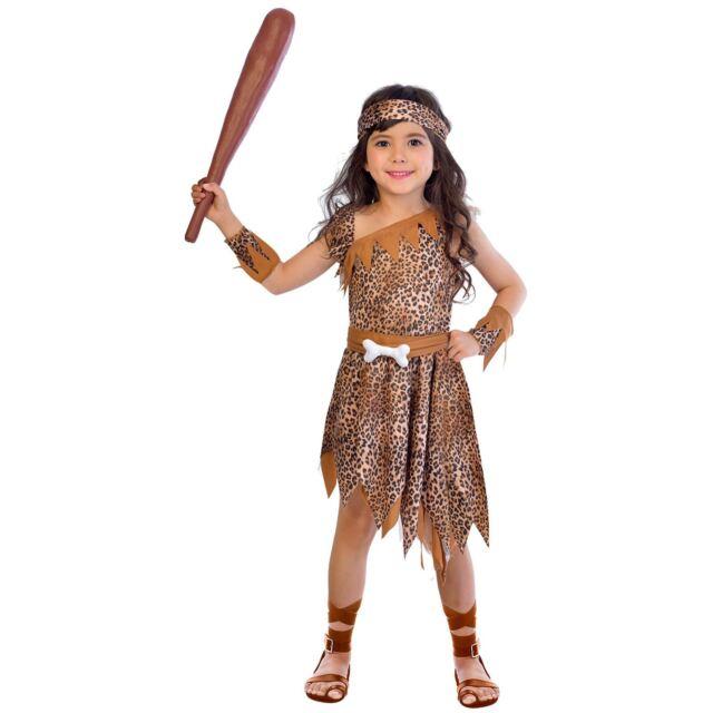 Girls Cavegirl Fancy Dress Costume Cave Stone Age Kids Tarzan Jungle 5-13 Years