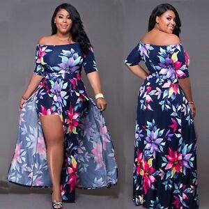 BOHO-Womens-Summer-Off-Shoulder-Split-Dress-Lady-Party-Evening-Beach-Maxi-Dress