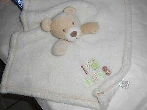 baby gear cream ivory i love hugs green print baby blanket lovey bear 15""