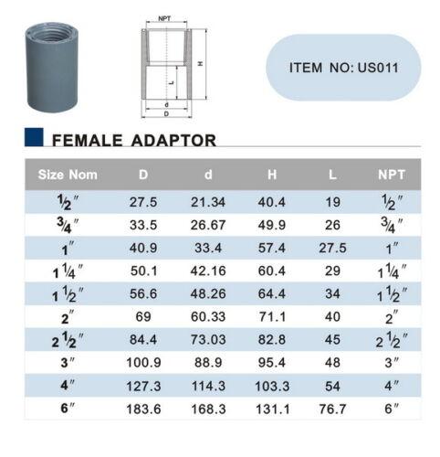 "New Sch 40 PVC 2/"" Female Adapter Socket X Female NPT Thread New Sch 40 PVC"
