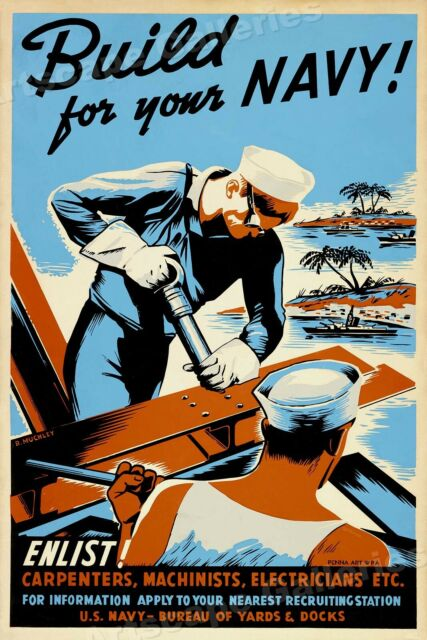 1942 Enlist in the Seabees - Build for the Navy! WWII Historic Poster - 16x24