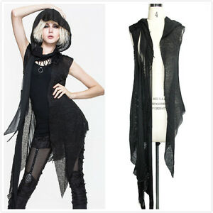Devil Fashion CA006 Black Gothic Punk Visual Kei sleeveless Hooded ...