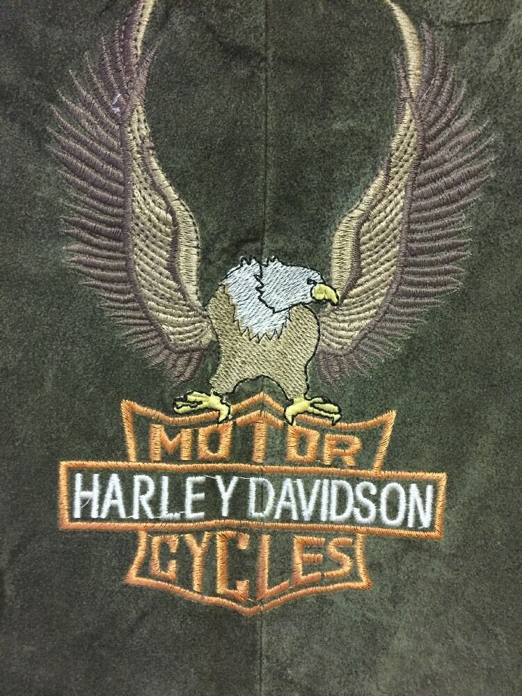 MEN'S MOTOR HARLEY DAVIDSON CYCLES SUEDE LEATHER GREEN VEST