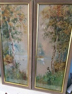 Pair-ANTIQUE-1912-WATER-COLOUR-PAINTINGS-SIGNED-R-B-WRIGHT-ARCA-BIRDS