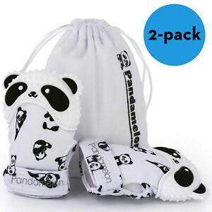 2 Pack - Cute Panda Teething Mittens for Baby, Teether Toy, Teething Mitt - Gift