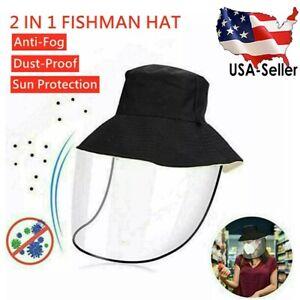 Anti-Spitting-Saliva-Splash-Face-Protective-w-Shield-Visor-Fisherman-Hat-Bucket