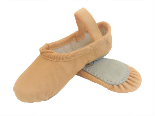 Ballet Shoes Dance Yoga Gymnastic Full Sole Leather UK Sizes