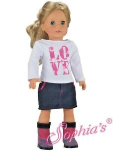 DOLL-CLOTHES-LOVE-T-SHIRT-SKIRT-OUTFIT-fits-American-Girl-and-most-18-034-Dolls