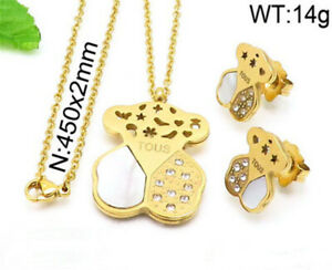 Stainless-Steel-Jewelry-Teddy-Bear-Necklace-Earring-Set-Crystal-Pendant-Necklace