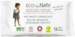 3 x Naty by Nature Babycare Unscented Sensitive Eco Wipes - 56 wipes