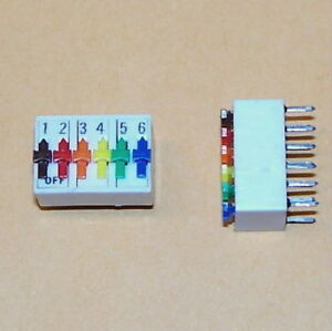 COLORED - 2 PCS lot  6 position DIP switch SPST PC board mount pins PCB 2.54mm