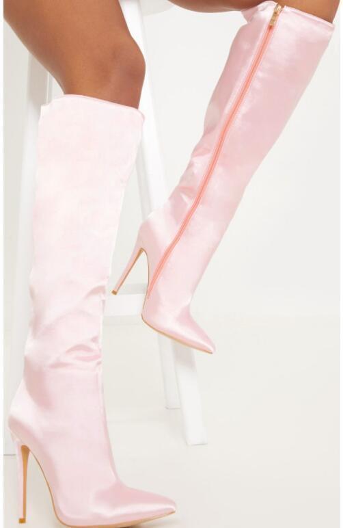Sexy femme européenne Oxford Knight Fermeture Éclair Bottines Stilettos Talon Haut Chaussures