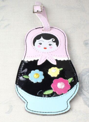 Bombay Duck russian doll l/'étiquette en simili cuir fleur appliqué bagages label tag Bnwt