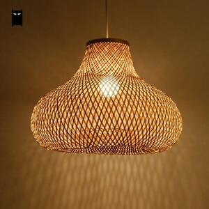 bamboo wicker rattan gourd shade pendant light fixture. Black Bedroom Furniture Sets. Home Design Ideas