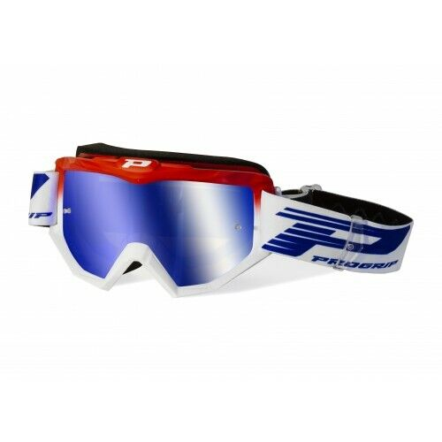 Progrip 3201 Red White Fluorescent Motocross Goggles with Multilayered Lens