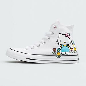 Details about Womens Converse x Hello Kitty All Star Hi Top Shoes Size 7 White Pink 164629F