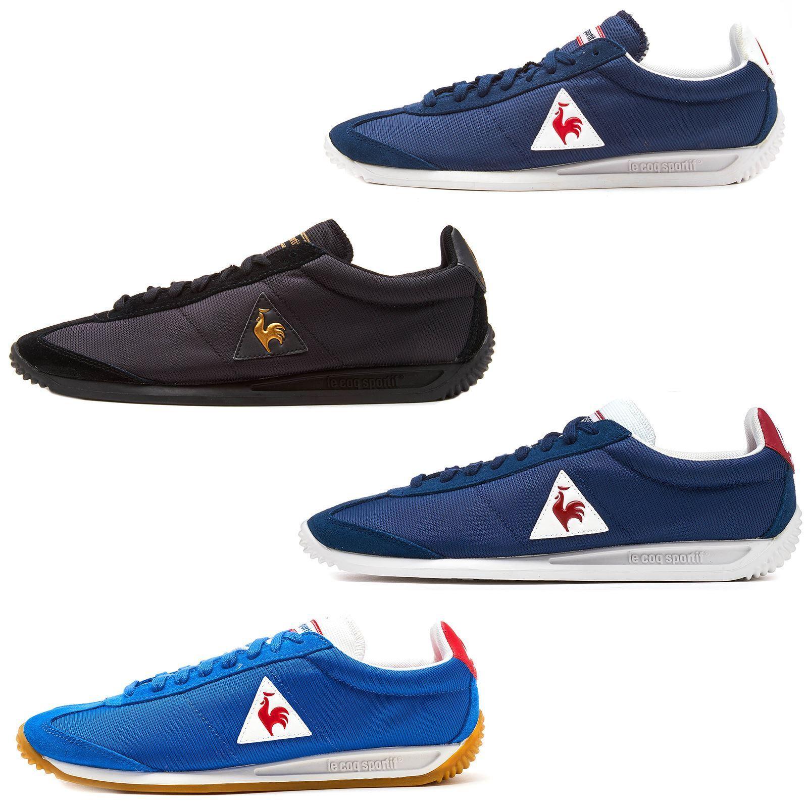 Le Coq Sportif Quartz Nylon Gum Trainers in Classic & Dress Blau & Vintage rot