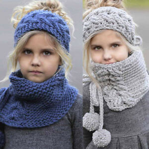 Children Girls Winter Wool Knitted Handmade Shawls Scarf Hooded Cowl Beanie Caps