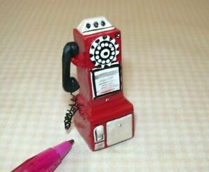 Miniature-Resin-50-039-s-Pay-Phone-RED-for-DOLLHOUSE-1-12-Scale-Miniatures