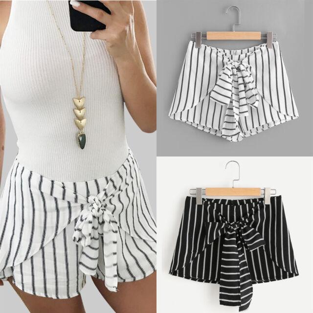 Women Striped Lace Up High Waist Bottoms Ladies Casual Beach Summer Hot Shorts