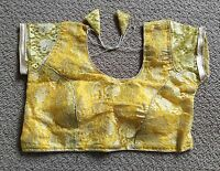 Indian Readymade Net Blouse Party Wear Yellow Stitched Saree Choli Size -36