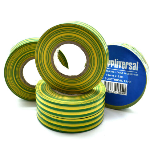 5 x 33m GREEN YELLOW STRIPE EARTH ELECTRICAL PVC INSULATION WIRE TAPE 19mm x 33m