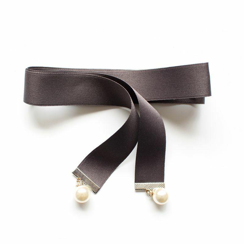 Women Uniform Bow Tie Neck Shirt Collar Cravat Girl Pearl Bead Ribbon Bowtie New