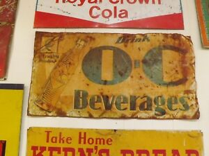 Vintage-Early-1929-Orange-Crush-Metal-Sign-RUSTY-GOLD-GAS-OIL-COLA-SODA