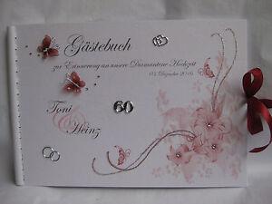 Gastebuch Diamantene Hochzeit Diamanten Schmetterlinge Bordeaux
